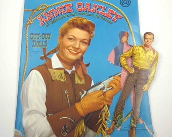 Vintage 1950s Annie Oakley Paper Doll and Punch Out Book  for Children by Whitman Cowboy Cowgirl TV