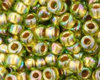 TOHO Japanese Seed Beads - Round 8/0: 996 Gold-Lined Rainbow Peridot - choose your gram weight