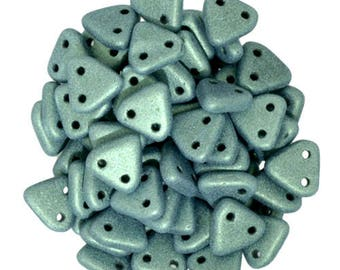 CzechMates Glass Two Hole Triangle Beads 6mm - Matte Frost Metallic Suede Light Green  -Starman Czech Pressed Glass Bead - pick gram weight