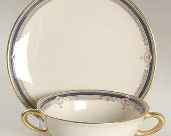 Buchanan by LENOX Flat Cream Soup Bowl & Saucer Set , Discontinued 1985 - 1999 - Beautiful China! Presidential, Cobalt,Tan Scrolls