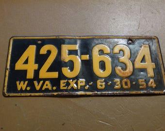 1954 West Virginia License Plate, Bike License Plate, Bicycle License Plate, Black & Yellow, 425-634 Metal Bike Plate, Mid Century Wall Art