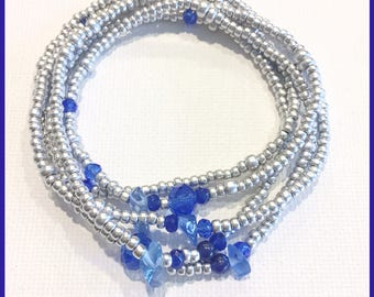 Sapphire & Silver September Birthstone Stretch Wrap Bracelet, Necklace, Stackable, Layering Accessory, Jewelry, Crystals, Jade, Silver