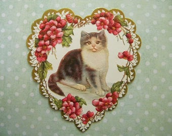 Antique Valentines Day Card Edwardian Heart Shaped Embossed with Cat Unsigned