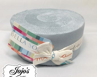 Bella Solids Jelly Roll Silver Grey by Moda Fabrics SKU 9900JR 183