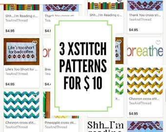 Cross stitch PDF pattern bundle - 3 for 10 dollars