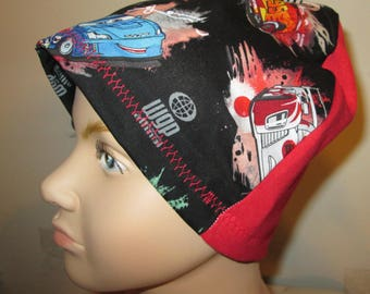 Kid's  Chemo Hat, Cars Print  Kid'sCancer Cap, Alopecia, Sleep Cap Free Ship USA