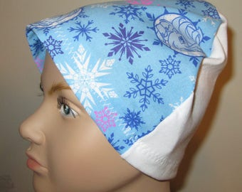 Kid's  Chemo Hat, Blue Frozen Print  Kid'sCancer Cap, Alopecia, Sleep Cap Free Ship USA