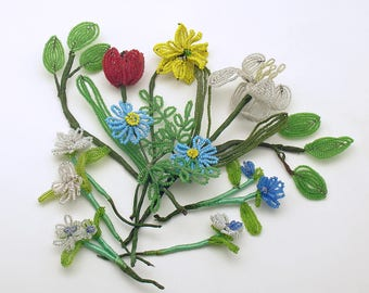 Vintage French Beaded Flower Picks Wedding Bouquet Corsages