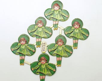 Vintage Scrap Shamrocks Irish Girls Die Cuts Germany St Patricks Day