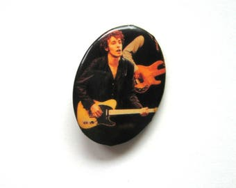 Vintage Bruce Springsteen Button - 1970s - Collectors item, Badge, Bruce Springsteen, The Boss, Rock 'n roll, Rock music button, Oval button