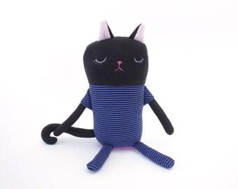 "Cat Sleepy Kitty in Pajamas ""Geroge"" Cotton Monster Plush"