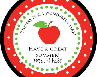 DIY Printable File- From Teacher Apple Sticker / end of school / teacher thank you STICKERS - Avery Label 22807