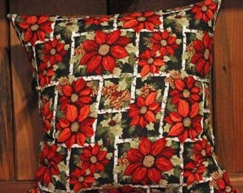 Poinsettia and Pinecones Christmas Pillow Cover Decorative, Throw, 18 x 18