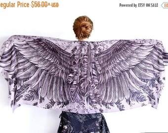 SALE Geometric Scarf, Angel Wings Scarf, White Scarf, Bridal Scarf, Beach Wedding Gift, Bridesmaid Scarf, Boho Bridesmaid Gift, Festival Wra