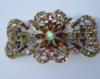 Vintage barrette Rhinestone hair clip Oversized Scroll Crystal Hair Jewels elegant Pony Holder bespoke Accessory Dressy Sparkle Gift for her