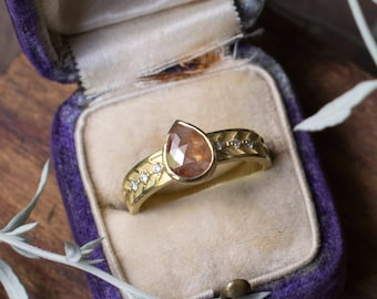 Rustic Diamond Engagement Ring | 1ct Rough Diamond Pear Shaped 18k Yellow Gold | size 6 ready to ship |conflict free Canadian diamonds