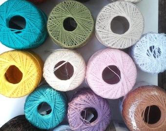 16 Skeins Crochet Thread Assorted