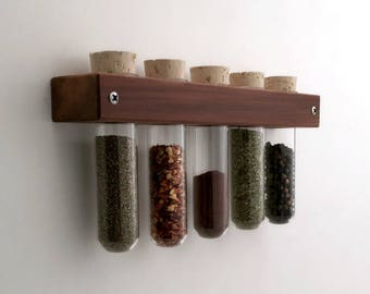 Spice Rack - Wall Test Tube Spice Rack -  Housewarming Gift - Kitchen Decor - Cooking Supplies