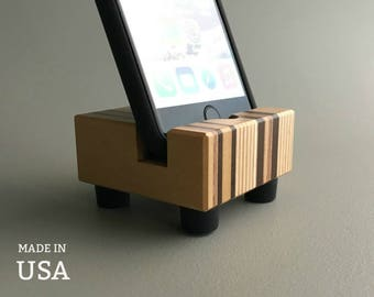 Wood iPhone Charging Stand, Gifts for Her, iPhone Docking Station, Modern Gift for Him, Unique Tech Gift, Desk Accessory, Made in USA