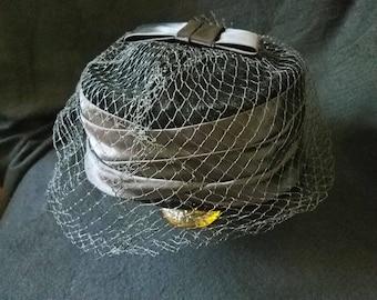 Veiled/ Pillbox/ Hat/ 1970s