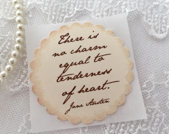 Jane Austen Stickers, Jane Austen Labels, Tenderness of Heart, Pride and Prejudice Set of 10