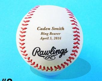 Ring Bearer Gift, Wedding, Custom Personalized Engraved Baseball, Groomsmen, Birthday, Keepsake, Design #3
