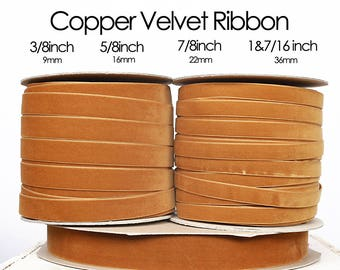 Copper - Bronze Nylavour Swiss Velvet Ribbon  3/8inch, 5/8inch, 7/8inch, 1&7/16inch - rust velvet ribbon, rust orange velvet, Bronze Velvet