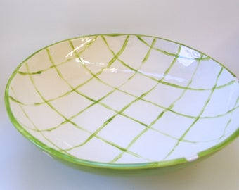 lime green pottery Serving Bowl / pasta dish -- whimsical kiwi green & white with plaid ribbons and polka-dots