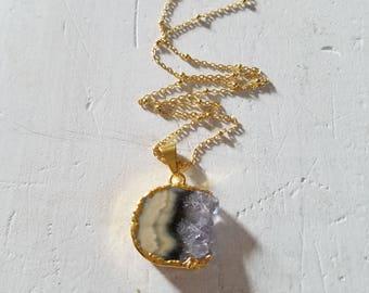 Stalactite Amethyst Stone Pendant 14k Gold Vermiel Necklace