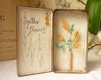 Original artwork - mixed media - flowers in vintage tin with embroidery - gather flowers