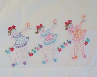 Vintage Handmade Embroidered Pillowcase • Girls in Pjs with Candles and Flowers • Pink Blue Purple Repurpose