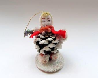 Vintage Pinecone Elf Ornament/ Pixie Elf/ Chenille Elf/ Pine Cone Gnome/ Pinecone Pixie Japan