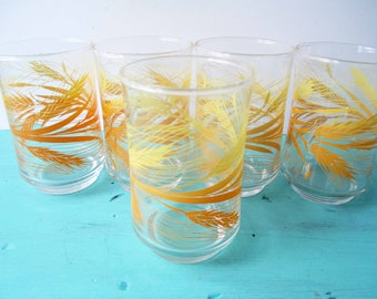 Vintage Libbey Wheat Juice Glasses Set of Five - Retro