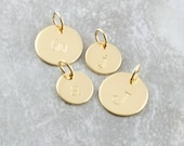 14k Gold Initial Charm  Personalized Name Disc  Solid Gold Name Pendant  Tiny Gold Initial Charm  Gift For Mom  Mothers Day  Personalized