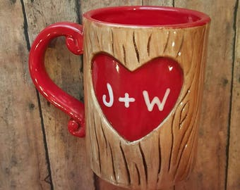 Personalized Sweetheart Coffee Mug - Valentines Gift - carved tree with sweetheart initials