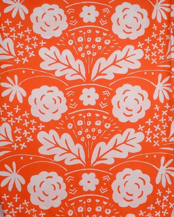 Vintage 70s Duvet Cover - 70s Marimekko - Marimekko Duvet Cover - Marimekko Bedspread - Orange White - Dan River - 70s Twin Duvet Cover