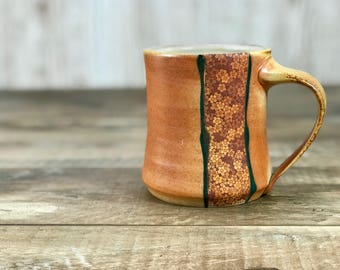 Soda fired mug. Handmade ceramic mug. Floral mug decor. B Clay pottery mug. Handmade mug. Gift for her. Atmospheric firing. Flashing slips.