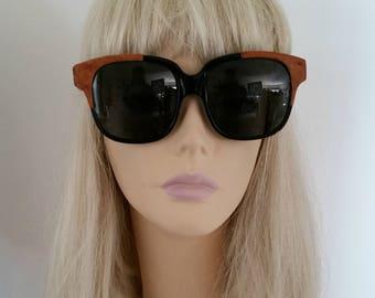 Oversize Emmanuel Khahn EK 1980s Designer Sunglasses #8080 with Ostrich Leather