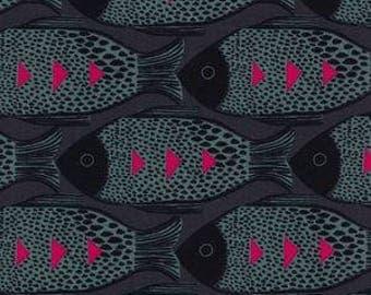 fish fabric, fish in charcoal, grey magenta fish, fish quilting fabric, fish nursery, underwater nursery, grey fish fabric