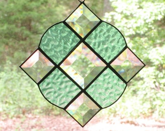 Stained Glass Suncatcher - Victorian in Textured Light Green