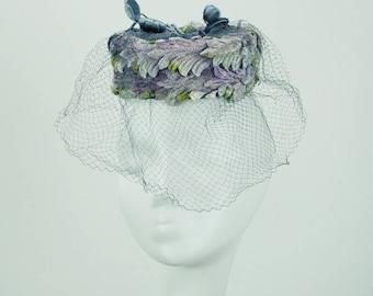 Vintage 1960s Diminutive Pillbox Hat Lavender and Blue Velvet by Miss Sally Victor