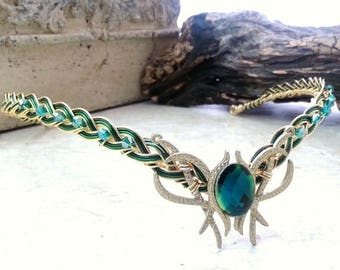 ON SALE Green Oracle Gem Elven Circlet Tiara Crown Celtic Weave Gold or Silver