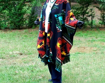 Southwestern Wind Runner Black Anti Pill Fleece Wrap, Shawl, Cape or Poncho with Fringe--Native American Design--One Size Fits Most