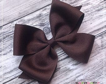 Classic Brown Boutique Hairbow 4 Inch Posh Bow