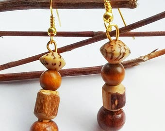 Brown Wood Earrings, Wooden Bead Earrings, Boho Wood Earrings, Festival Earrings, Hippie Earrings, Gift For Her, Ethnic Drop Earrings,