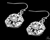 Turtle Dangle Steampunk Earrings, Long Silver Drop Earrings, Tortoise Gift