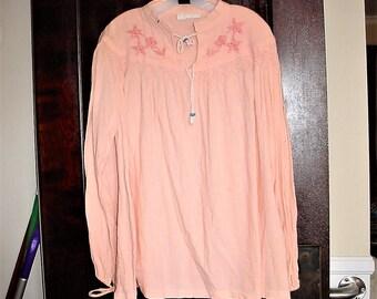 Vintage 90s Plus 3X Coral Crinkle Cotton Hippie Top