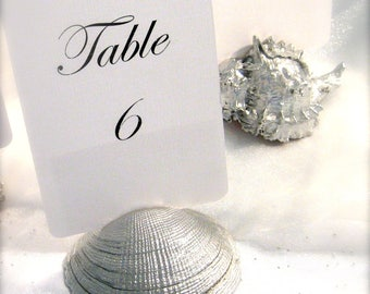 Beach Wedding Silver Shell Table Number Holders  (Set of 10) ON SALE
