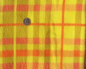 Vintage Cotton Fabric Plaid Flannel 1 yd Blanket Material