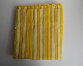 1970s Full Flat Sheet with Yellow, Green, and Brown Stripes